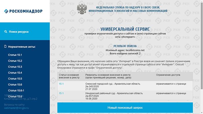 Hình ảnh khi người Nga cố gắng truy cập trang web LocalBitcoins.net.
